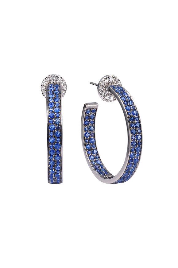 Nam Cho 18K White Gold Blue Sapphire Hoop Earrings