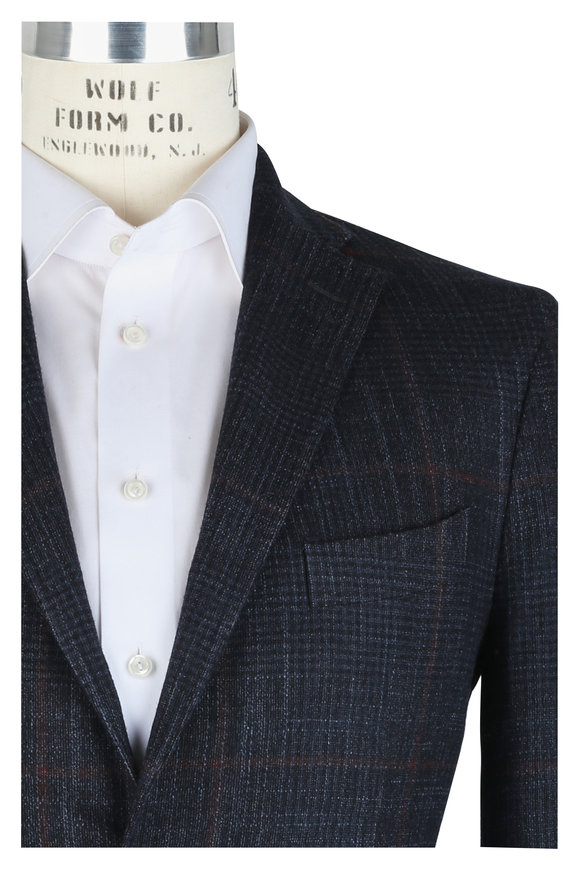 Boglioli Navy Blue Wool, Silk & Cashmere Plaid Sportcoat