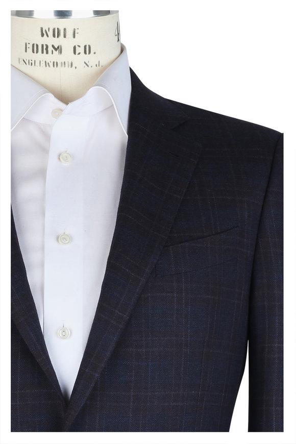 Ermenegildo Zegna Navy Blue & Burgundy Plaid Wool & Silk Sportcoat