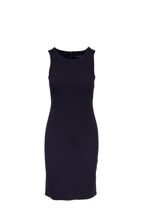 Emporio Armani Navy Blue Stretch Jacquard Dress