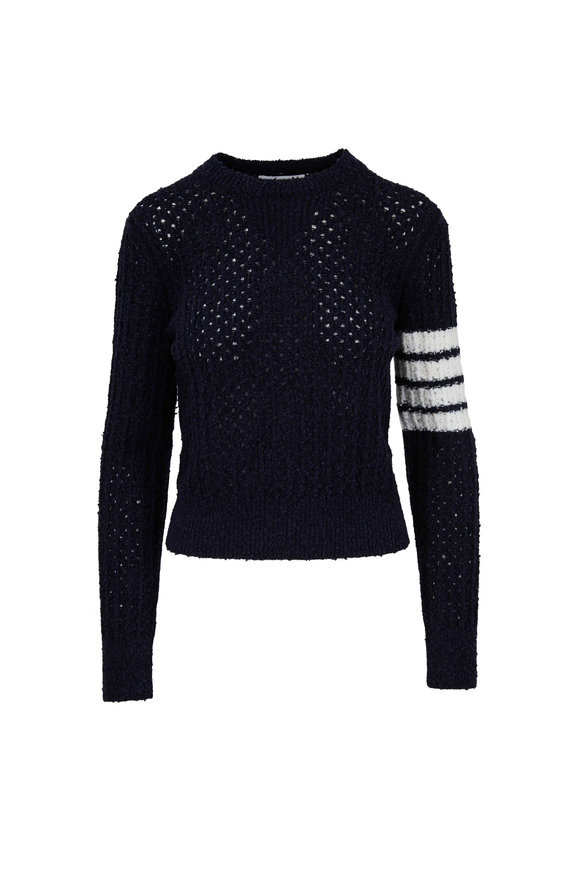 Thom Browne Navy Four Bar Open Stitch Sweater