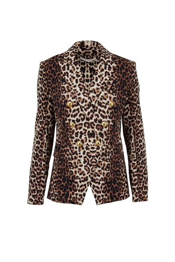 Veronica Beard Miller Leopard Double-Breasted Dickey Jacket