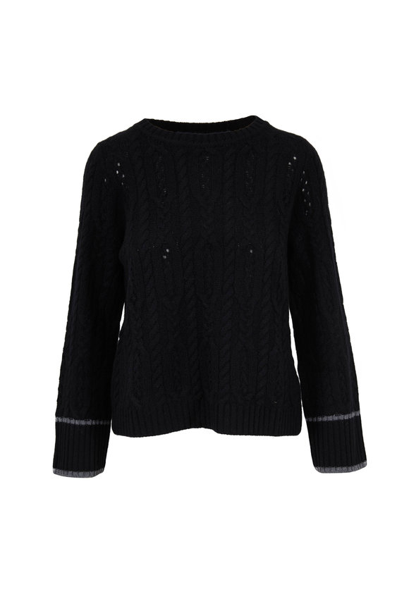 Raffi  Black Cashmere Cable Knit Sweater