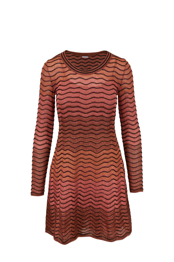 M Missoni Peach Metallic Ripple Knit Long Sleeve Dress