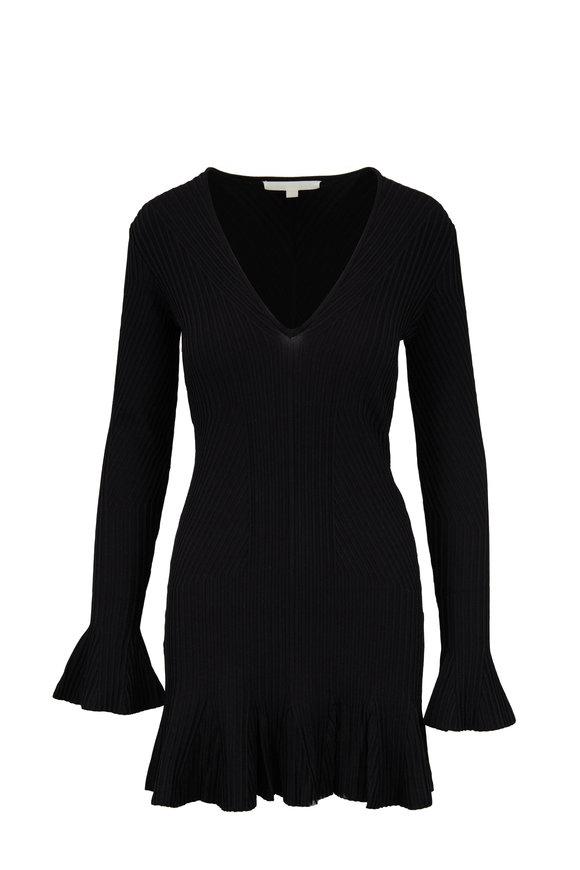 Jonathan Simkhai Black Directional Rib Knit V-Neck Dress