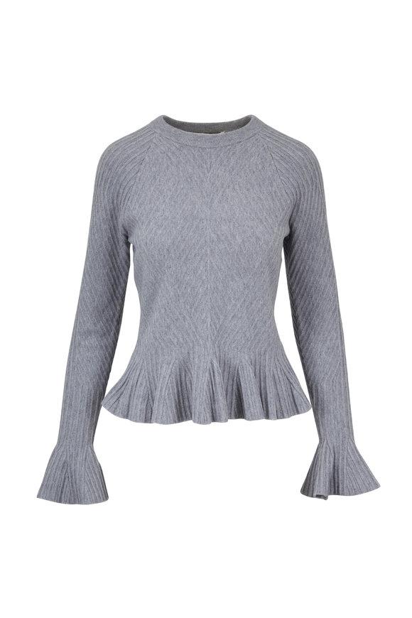 Jonathan Simkhai Gray Ribbed Ruffled Hem Sweater