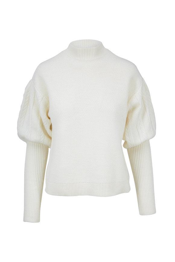 Jonathan Simkhai Ivory Wool Tassel Knit Sweater