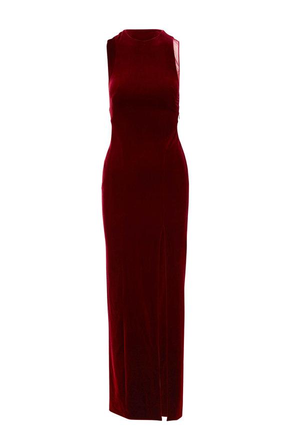 Galvan Crescent Wine Velvet Cutout Gown