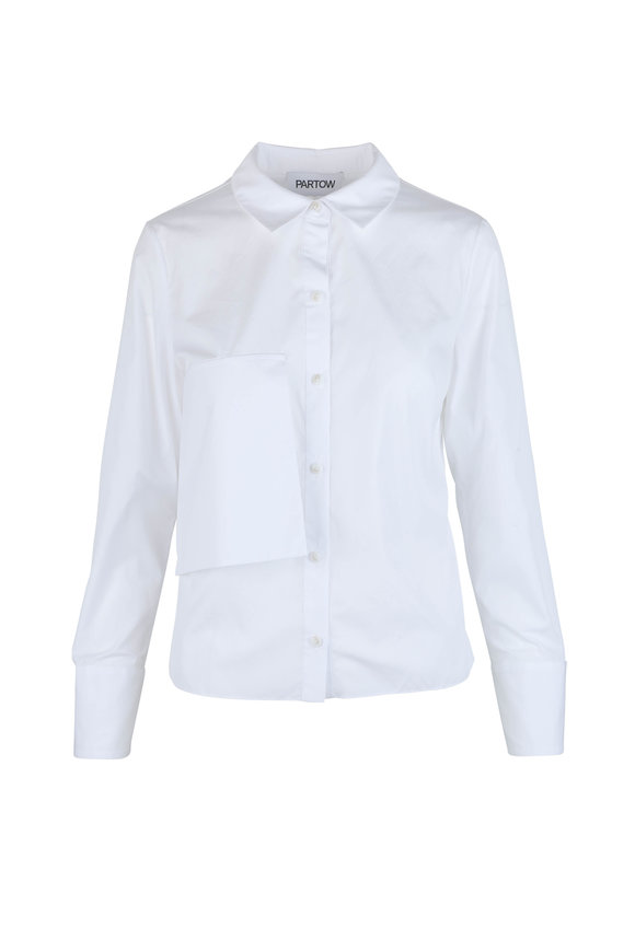 Partow Akila White Cotton Overlay Blouse