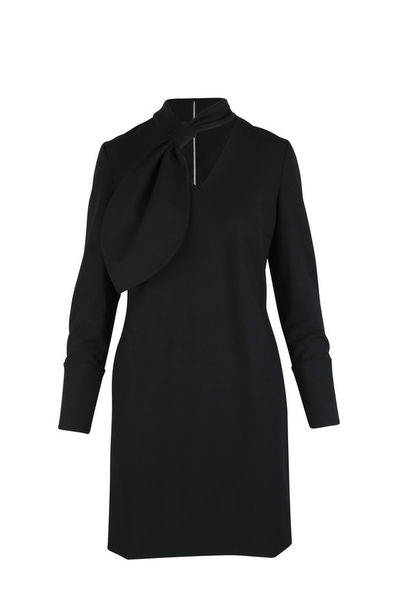 Partow Benson Black Crepe Tie-Neck Long Sleeve Dress
