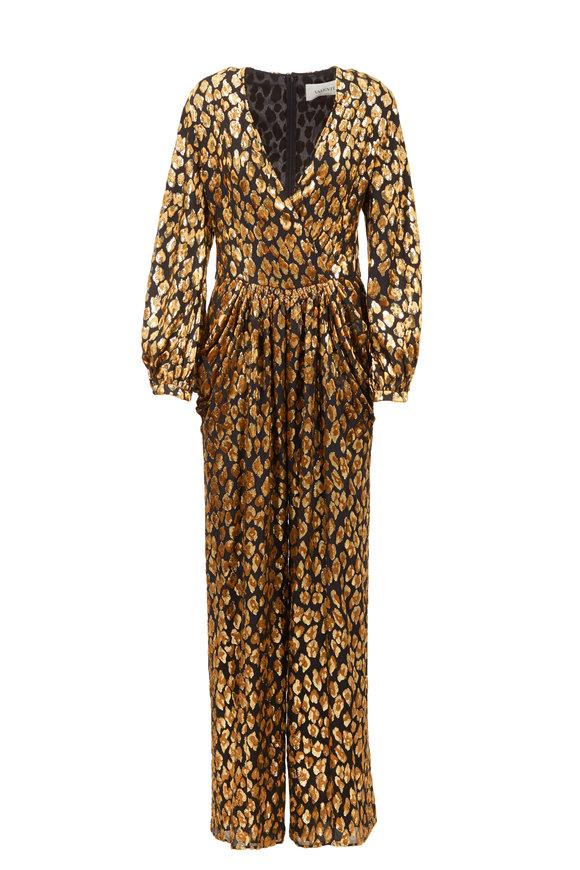 Valentino Black & Gold Velvet Animal Print Jumpsuit