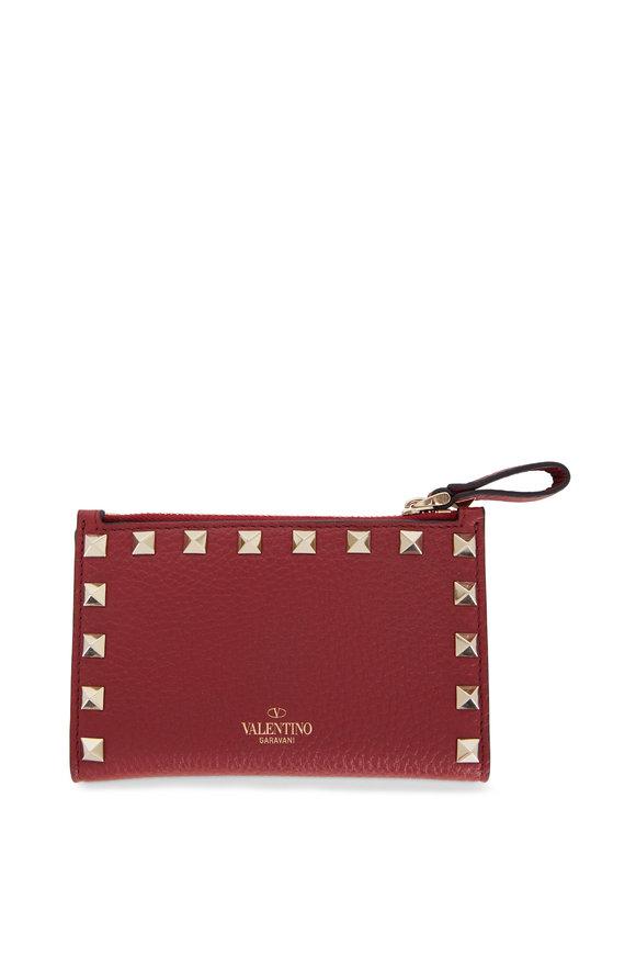 Valentino Garavani Rockstud Rubino Leather Fold-Over Wallet