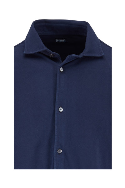 Fedeli - Navy Blue Piqué Long Sleeve Polo
