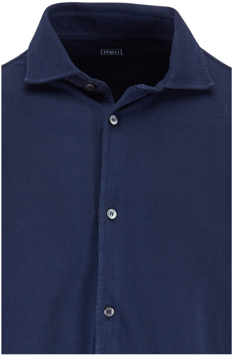Fedeli Navy Blue Piqué Long Sleeve Polo