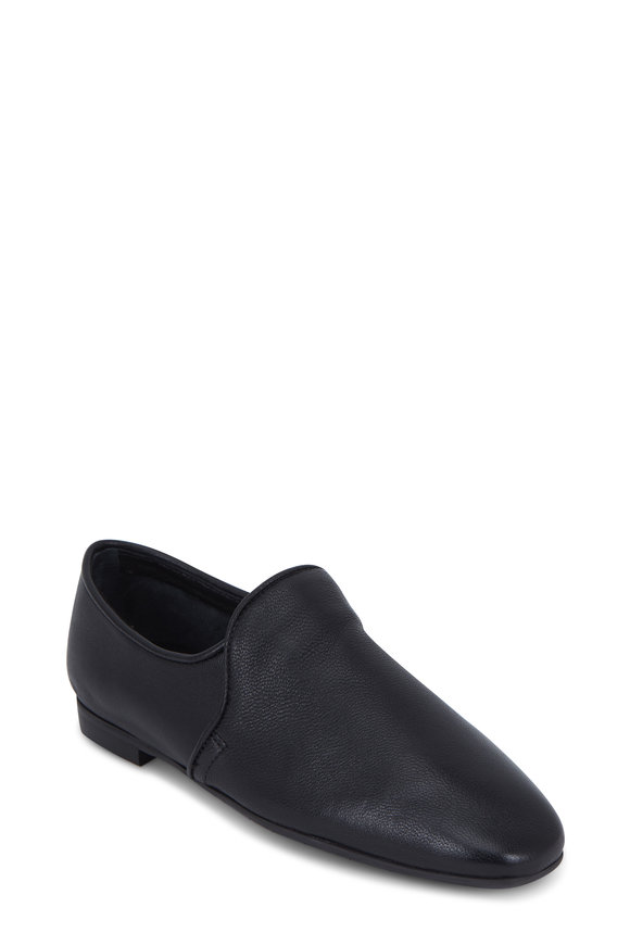 Aquatalia Revy Black Weatherproof Soft Leather Loafer