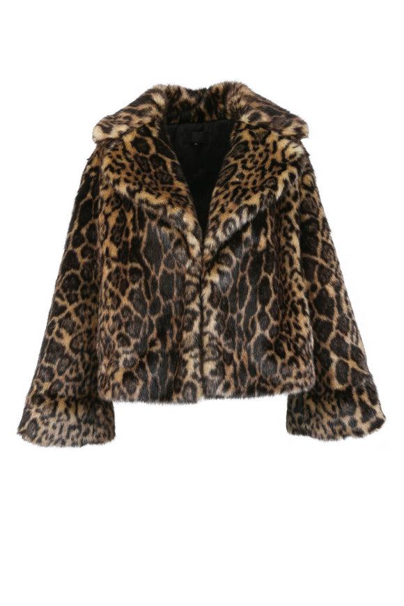 Nili Lotan Sedella Leopard Print Faux Fur Coat