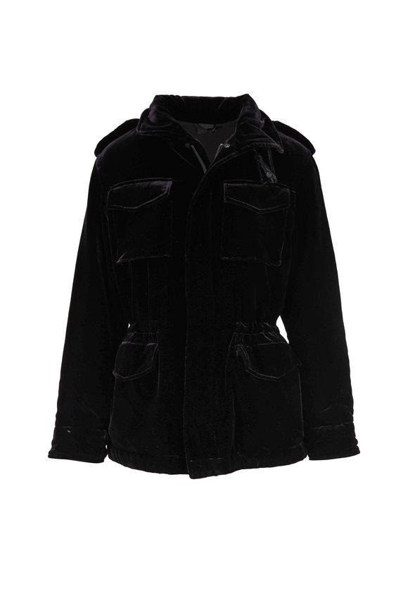 Aspesi Black Velvet Flap Pocket Coat