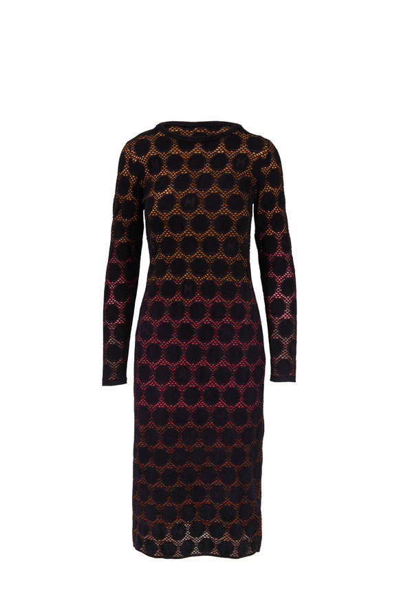 M Missoni Black Dot Long Sleeve Midi Dress