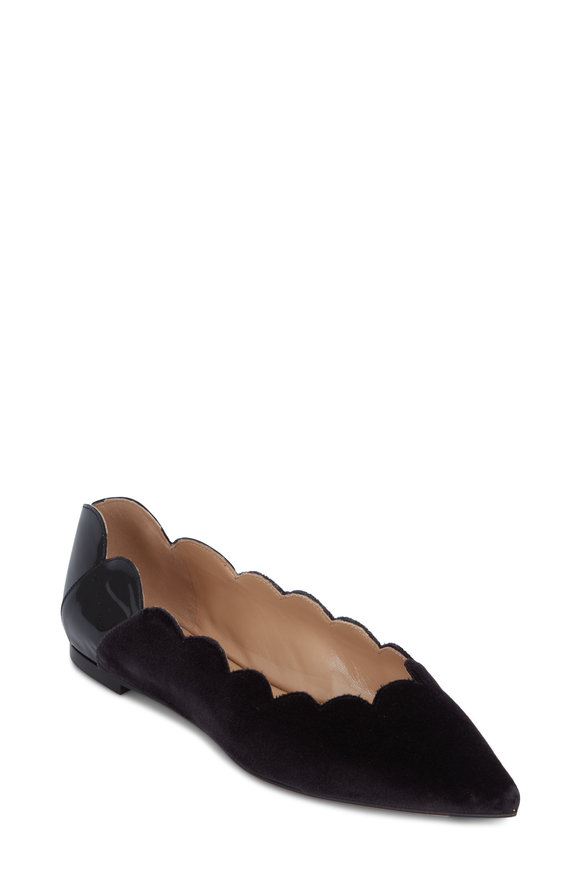 Chloé Gray Velvet & Black Patent Pointed Scallop Flat