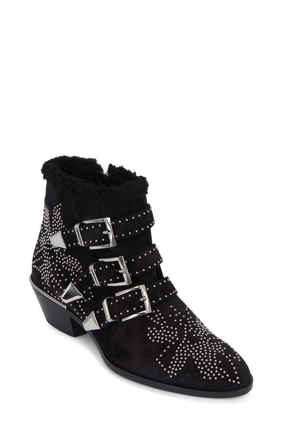Chloé Susanna Black Nappa Sheepskin Ankle Boot,  50mm