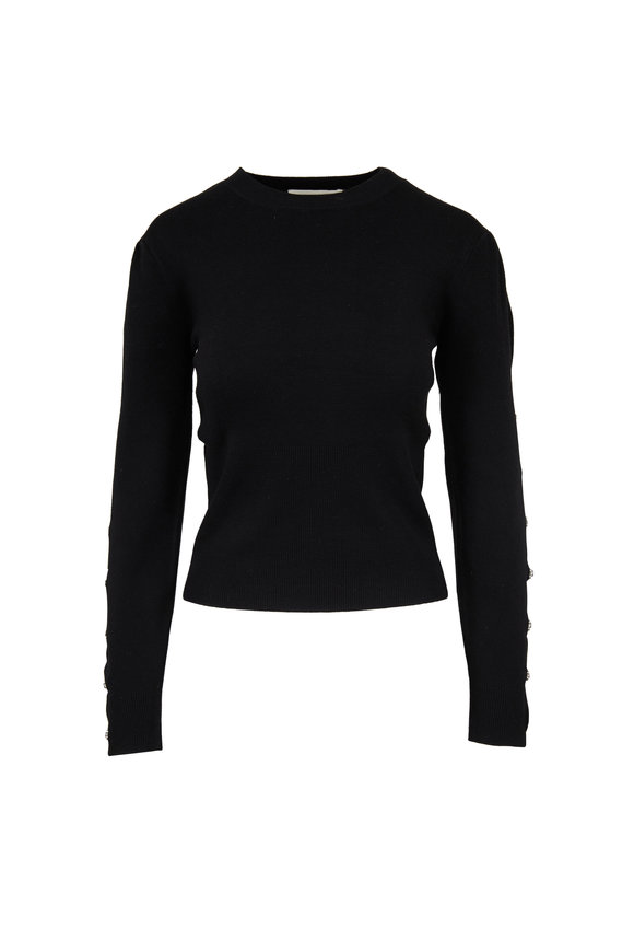 Jonathan Simkhai Black Stretch Wool Split Sleeve Sweater
