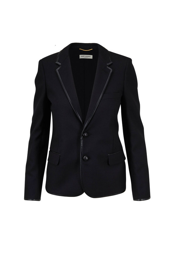 Saint Laurent Black Wool Gabardine Leather Trim Blazer