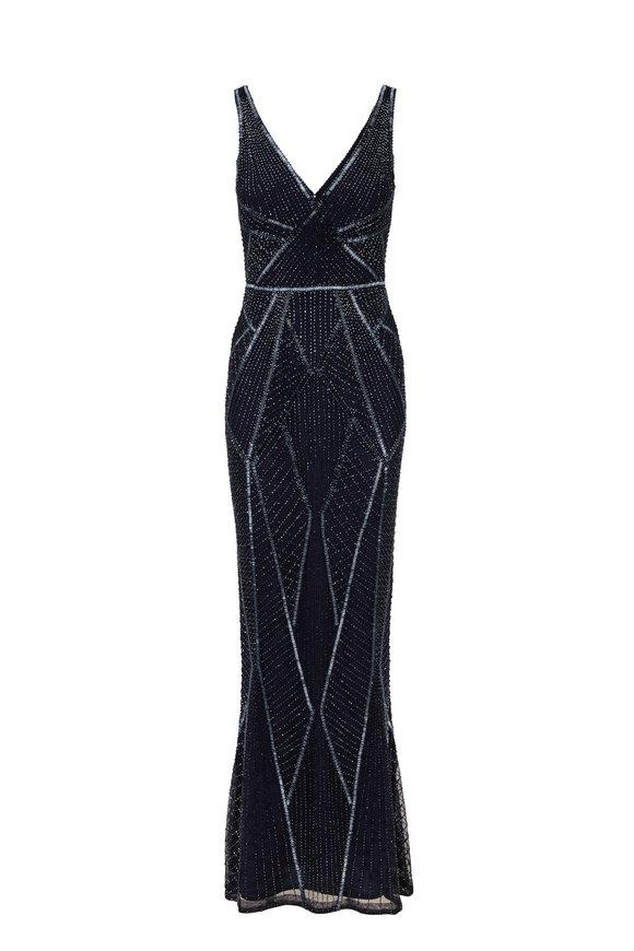 Rachel Gilbert Kylah Navy Embellished V-Neck Column Gown