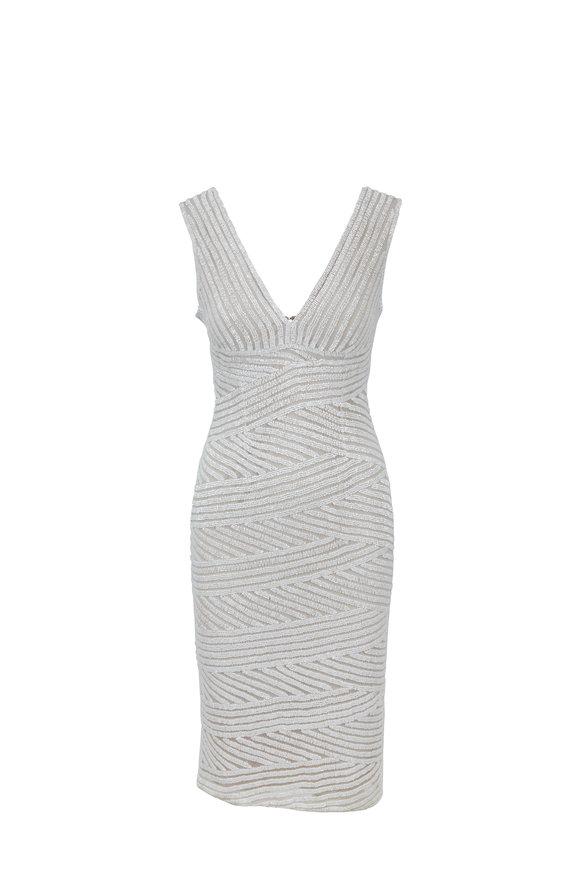 Rachel Gilbert Marisie Ivory Sequin Cocktail Dress