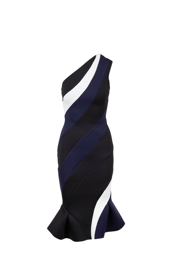Rachel Gilbert Rumer Black & Navy Scuba One Shoulder Dress