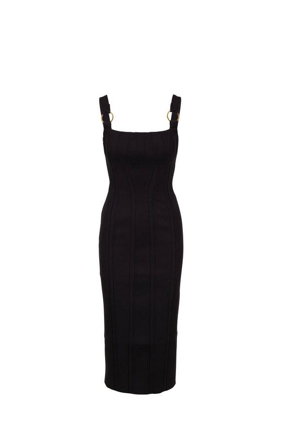 Rachel Gilbert Abiba Black Fitted Midi Dress