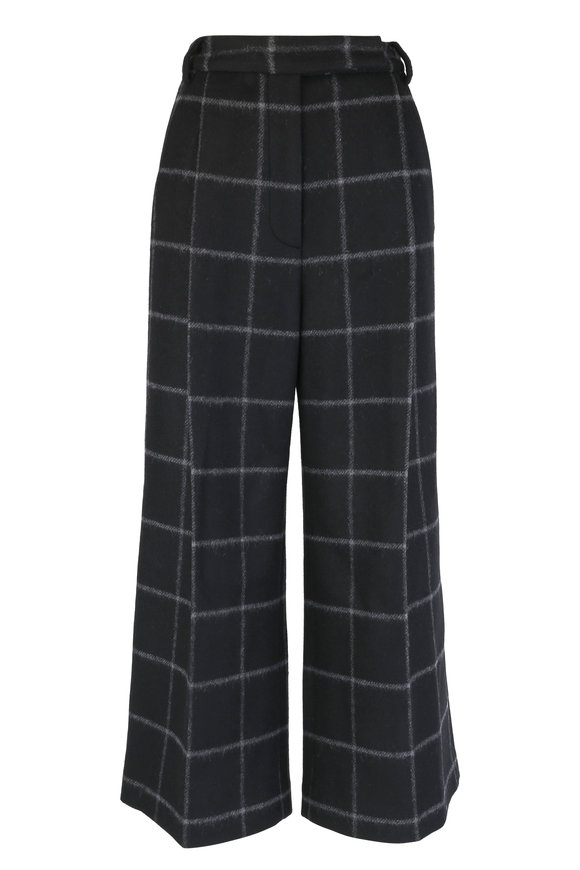 Partow Black Windowpane Wide Leg Pant