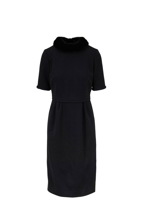 Carolina Herrera Black Mink Collar Short Sleeve Dress