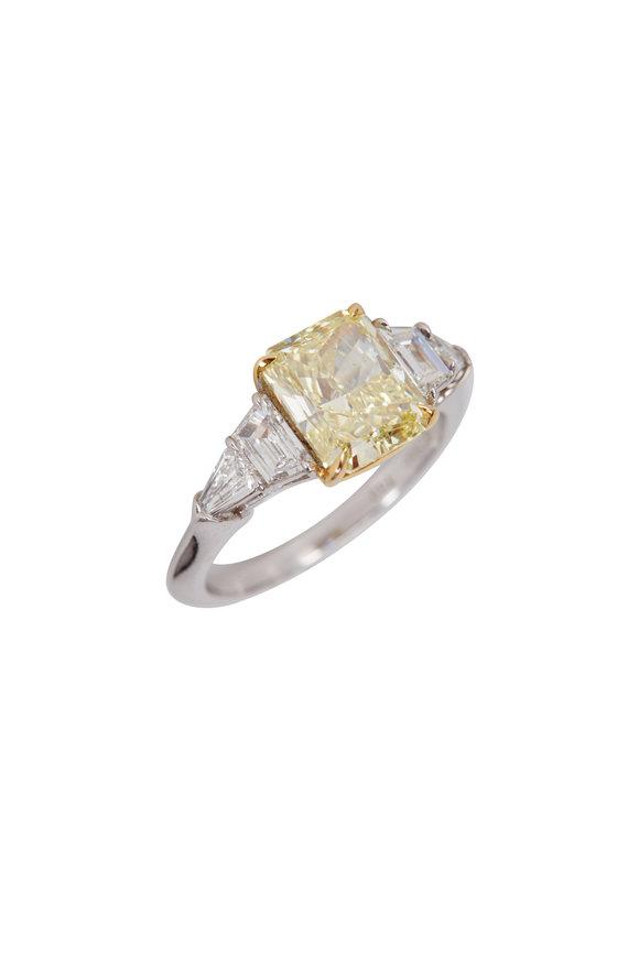 Lowy & Co Platinum Radiant Yellow Diamond Ring