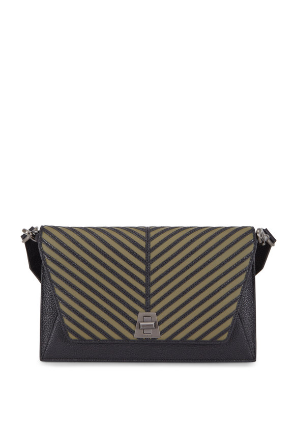 Akris Anouk Olive & Black City Herringbone Shoulder Bag