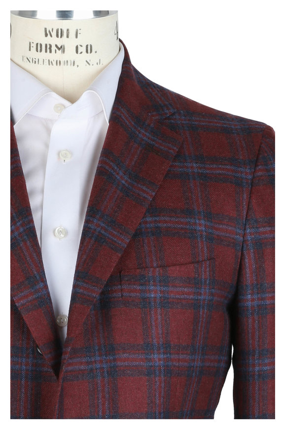 Kiton Red Cashmere, Vicuna & Silk Plaid Sportcoat