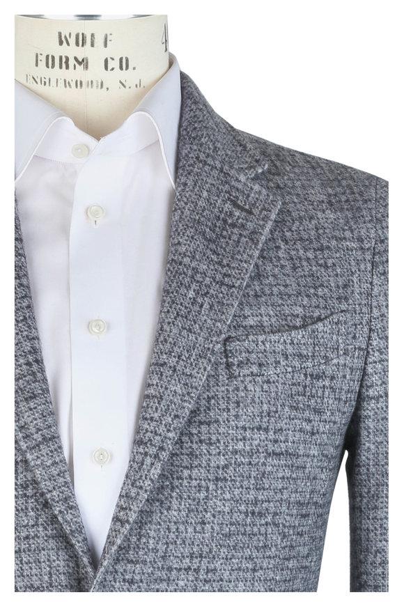 Ermenegildo Zegna Charcoal Gray Cashmere Blend Check Sportcoat