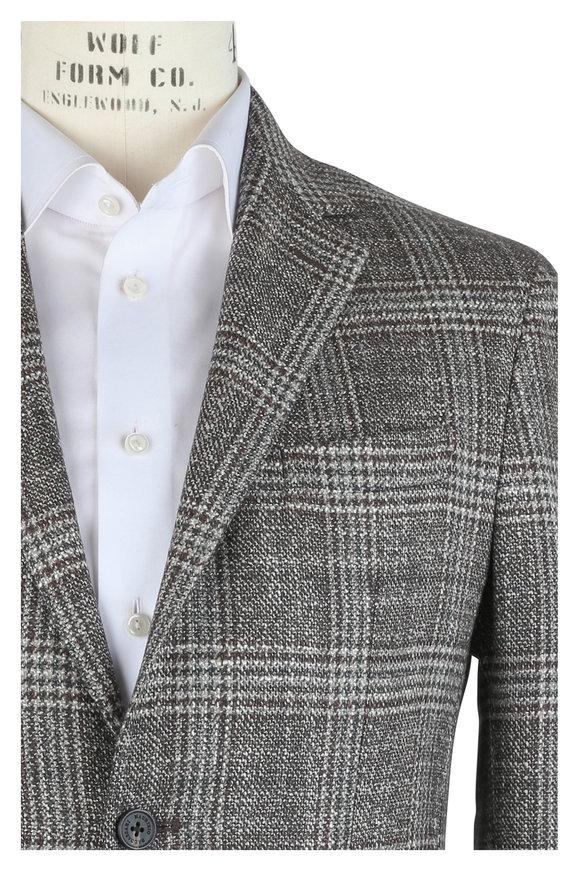 Maurizio Baldassari Brown Wool & Silk Plaid Sportcoat