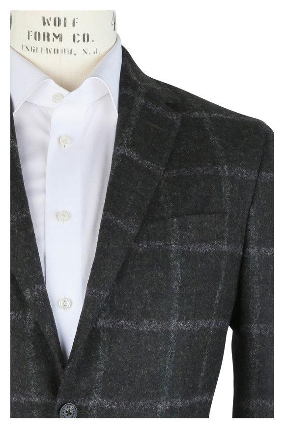 Maurizio Baldassari Olive Green Alpaca, & Wool Blend Plaid Sportcoat