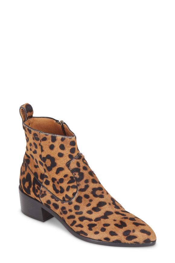 Veronica Beard Tanner Leopard Print Calfhair Ankle Boot, 35mm