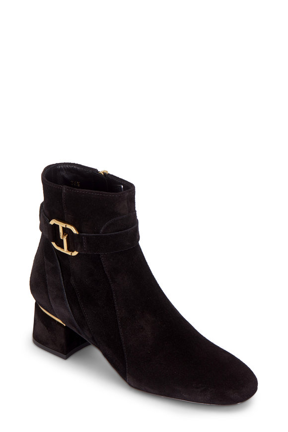 Tod's Black Suede Double T Ankle Boot, 50mm