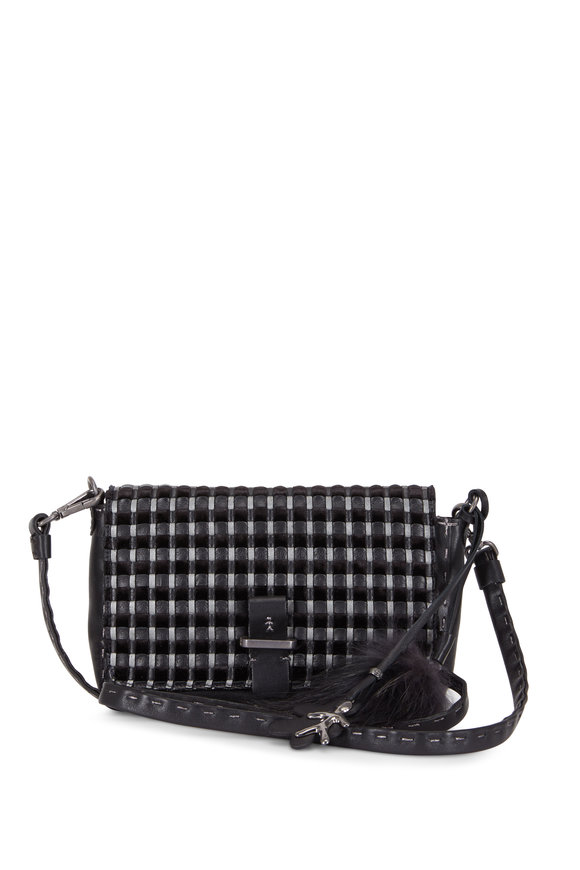 Henry Beguelin Pochette Black Woven & Smooth Leather Small Bag