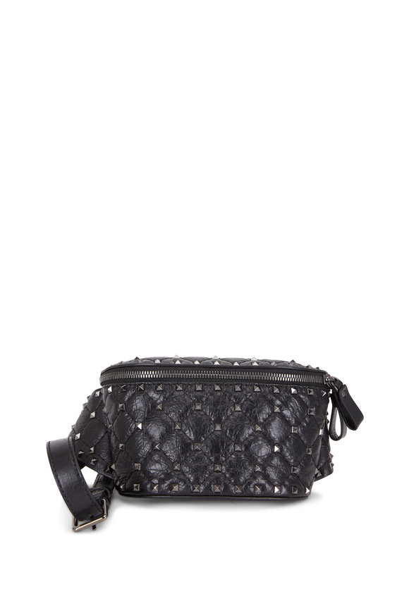 Valentino Garavani Rockstud Black Leather Small Belt Bag