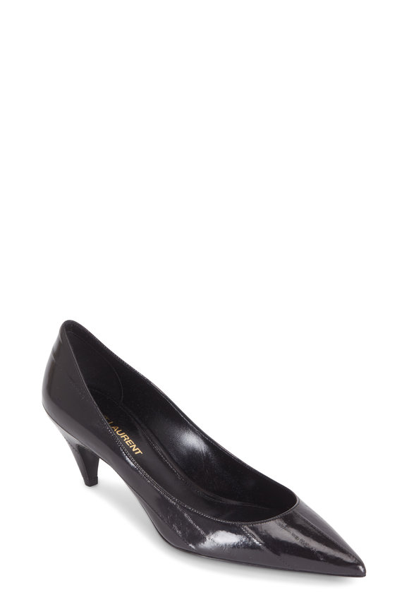 Saint Laurent Charlotte Black Eelskin Pump, 55mm