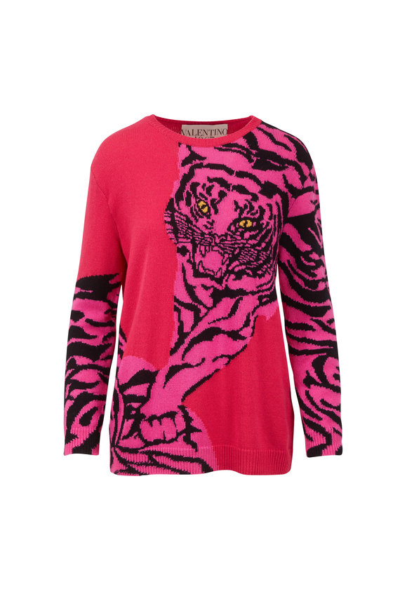 Valentino Re-Addition Hot Pink Cashmere Tiger Print Sweater