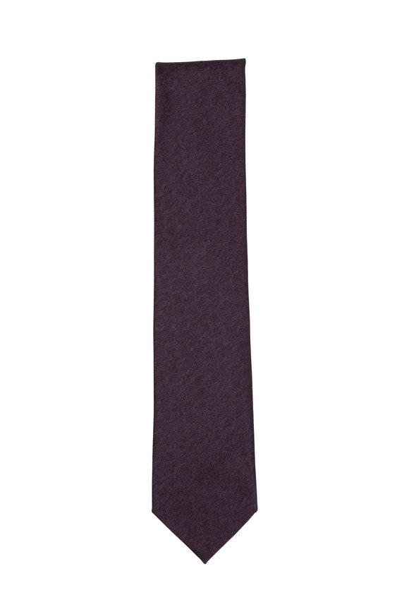 Brioni Mauve Silk Necktie
