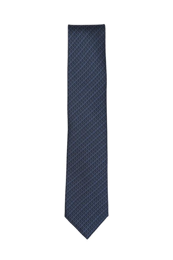 Brioni Blue Striped Silk Necktie