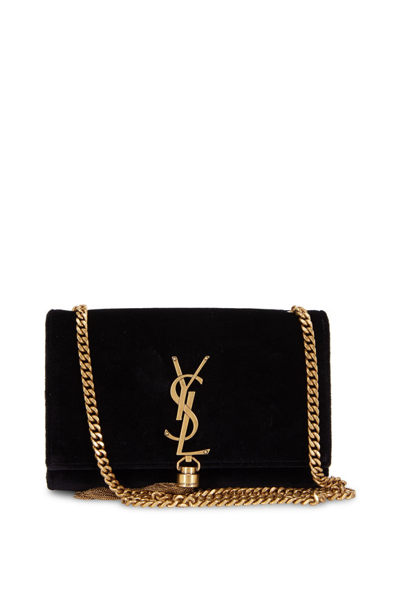Saint Laurent Kate Monogram Black Velvet Tassel Shoulder Bag