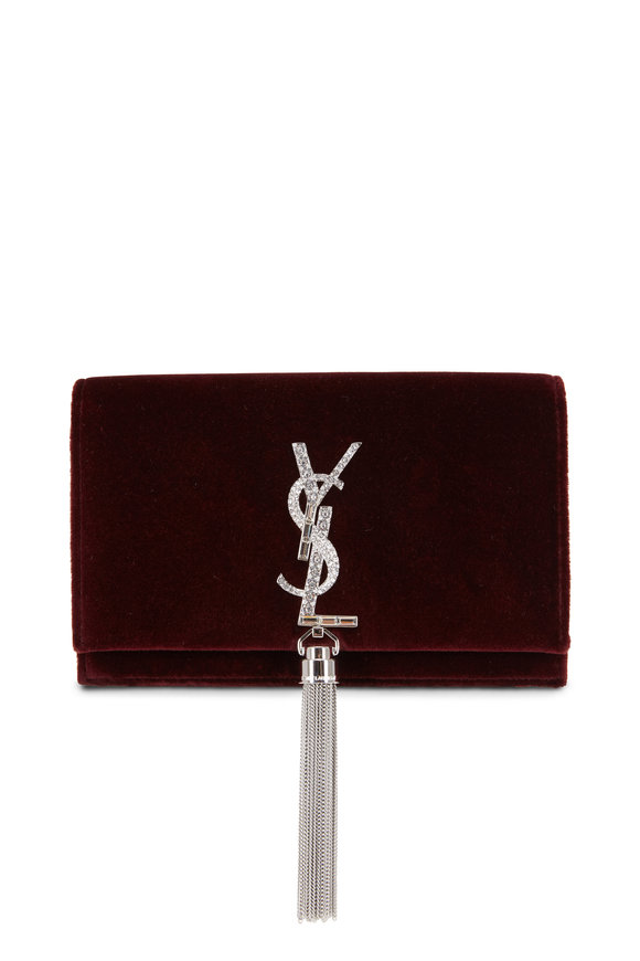 Saint Laurent Kate Burgundy Velvet Crystal Logo Chain Wallet