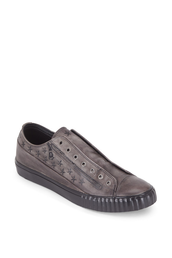 John Varvatos Gray Printed Leather Laceless Low-Top Sneaker