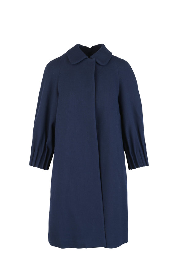 Kiton Navy Blue Wool Cinched Sleeve Topper